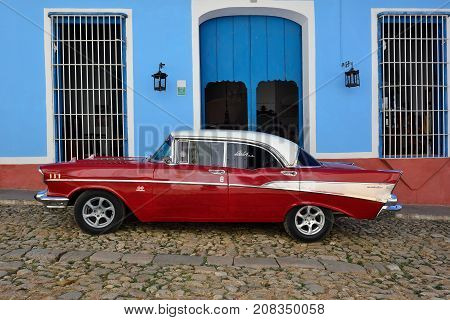 TRYNIDAD CUBA - 08 NOVEMBER 2016: Classical old chevrolet on the Cuban street in Trinidad