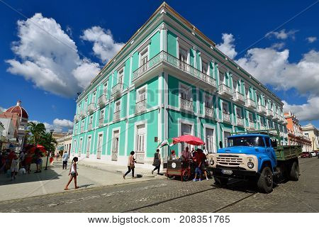 CIENFUEGOS CUBA - 06 NOVEMBER 2016: Colonial building development by the main promenade on the old town in Cienfuegos on Cuba