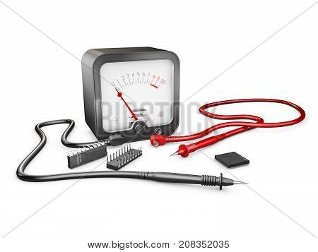 3D Illustration Of Electrician Multimeter Tester And Chips, Isolated On White