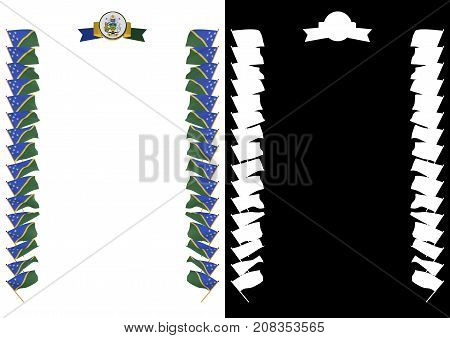Frame And Border With Flag And Coat Of Arms Solomon Islands. 3D Illustration