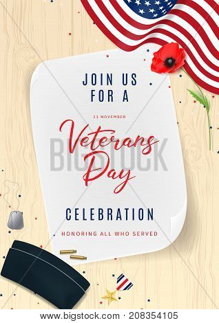 Veterans Day Greeting Party Invitation. Top View on Sleeves, Medal, Soldier Tag and Cap on wooden texture. Holiday Backdrop with USA Flag and Red Poppy. Vector Illustration with Confetti.