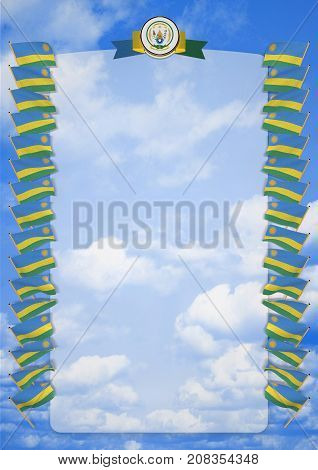 Frame And Border With Flag And Coat Of Arms Rwanda. 3D Illustration