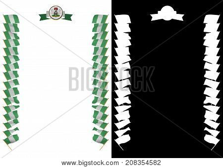 Frame And Border With Flag And Coat Of Arms Nigeria. 3D Illustration