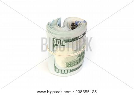 Us Official Currency, Roll Of One Hundred Dollars