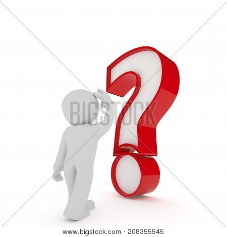 Small businessman character with a big red question mark on a white background 3d rendering