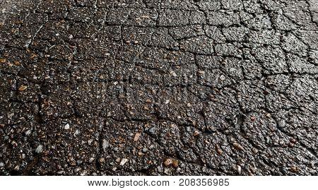Wet cracked asphalt road after the rain. Asphalt perspective. Asphalt background. Background and texture