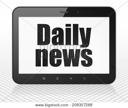 News concept: Tablet Pc Computer with black text Daily News on display, 3D rendering