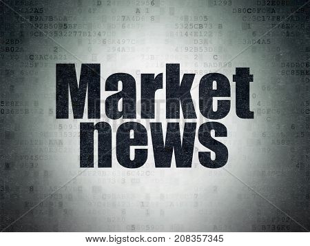 News concept: Painted black word Market News on Digital Data Paper background