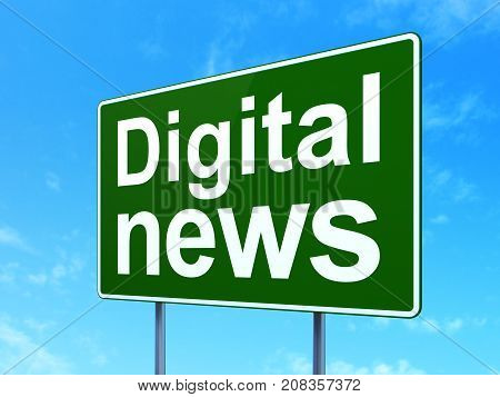 News concept: Digital News on green road highway sign, clear blue sky background, 3D rendering