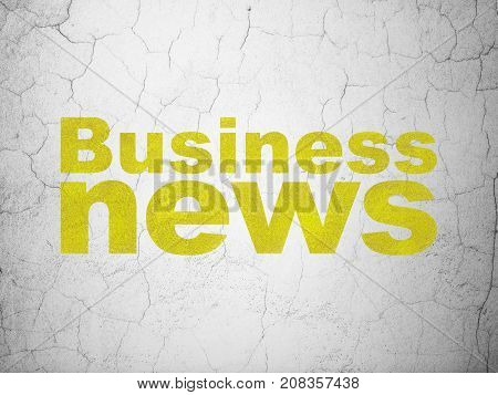 News concept: Yellow Business News on textured concrete wall background