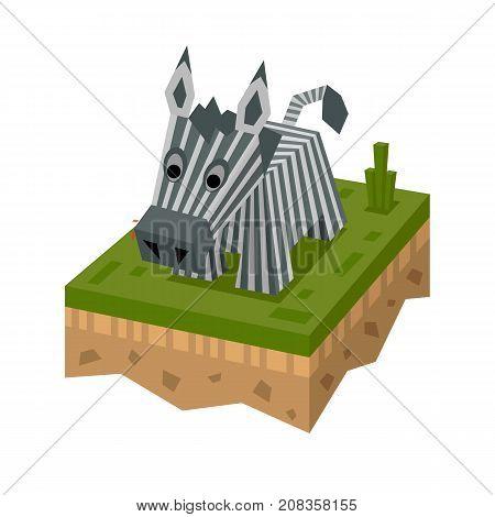 3D isometric flat style zebra. African isometry animal. Vector character. Elephant wild safari, mammal in wildlife. Zebra on ground tile.