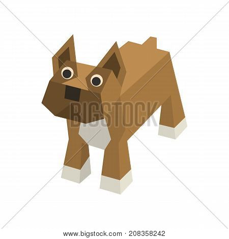 Vector breed isometric boxer. Isolated cute isometry animal. Element of geometric dog for 3d game. Icon of domestic and home dog, puppy. Vector illustration of Boxer.