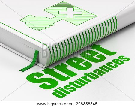 Politics concept: closed book with Green Protest icon and text Street Disturbances on floor, white background, 3D rendering
