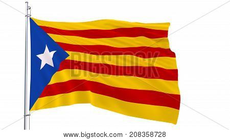 Flag on the flagpole blue estelada fluttering in the wind on a white background 3d render