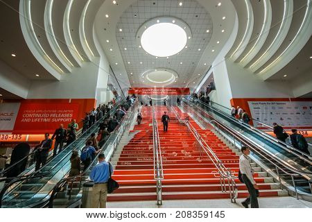 SAN FRANCISCO CA US - OCT 4 2011: Main entrance to Oracle OpenWorld conference in Moscone convention center on Oct 4 2011 in San Francisco CA. More than 50 thousands attendees visited this forum