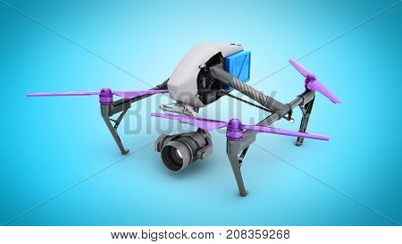 Film Concept Generic Design Remote Control Air Drone Flying 3D Rendering On Blue