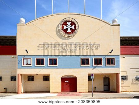 ATTARD, MALTA - APRIL 1, 2017 - Front view of the Centenary Stadium Attard Malta Europe, April 1, 2017.