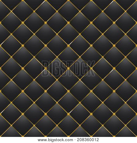 button tufted modern black leather vector background
