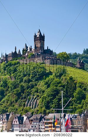 view on town Cochem and castle under town. Germany