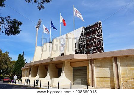 ATTARD, MALTA - APRIL 1, 2017 - View of the Centenary Stadium South stand Attard Malta Europe, April 1, 2017.