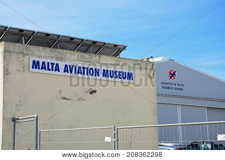 ATTARD, MALTA - APRIL 1, 2017 - Malta Aviation Museum buildings Attard Malta Europe, April 1, 2017.