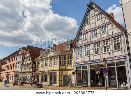 CELLE, GERMANY - MAY 21, 2017: Historic buildings in the old town of Celle, Germany