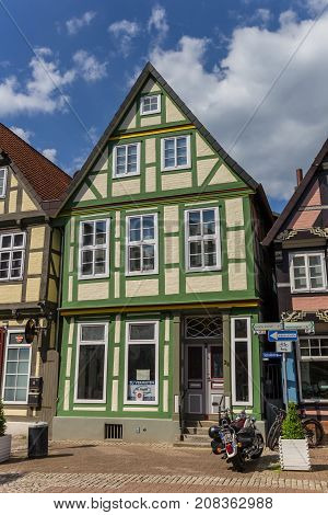 CELLE, GERMANY - MAY 21, 2017: Half-timbered house in the historic center of Celle, Germany