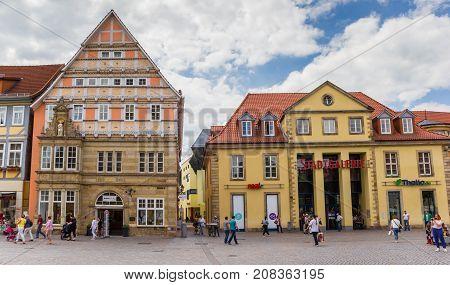 HAMELN, GERMANY - MAY 22, 2017: Shops at the central market square of Hameln, Germany