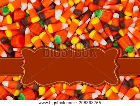 Halloween orange candy corn border with copy space for your message