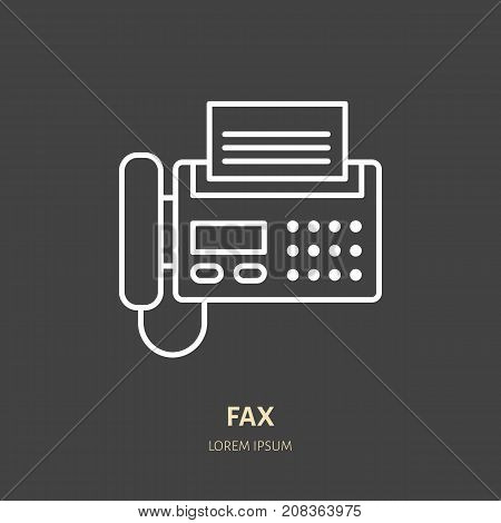 Fax phone with paper page flat line icon. Wireless technology, office equipment sign. Vector illustration of communication devices for electronics store.