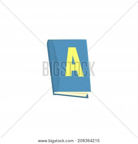 Blue school textbook cartoon vector Illustration isolated on a white background