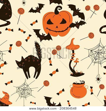 Collection of Halloween decor and objects. From Cats and funny pumpkins to spiders and candy. Vector illustration. Seamless pattern