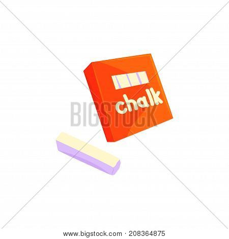 Red chalk box, sticks of white chalk cartoon vector Illustration isolated on a white background