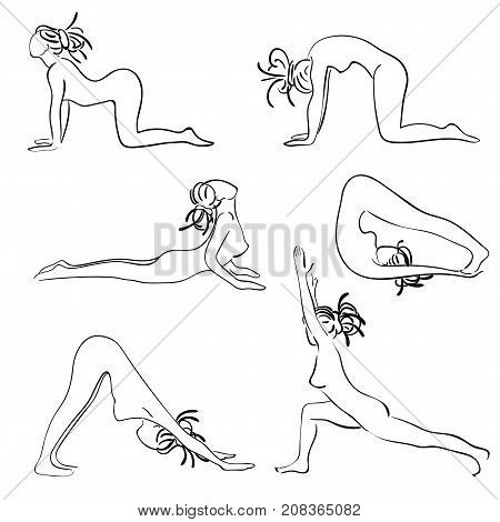 Set with beautiful woman in various poses of yoga. Vector set of yoga illustration. Set of Surya Namascar yoga. Woman with dreadlocks yoga class