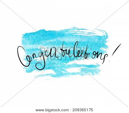 Congratulations banner with blue watercolor background made in vector