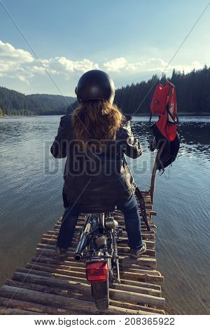 End of The Road Woman Motorcycle Rider Eternity