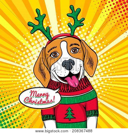 Wow pop art dog face. Funny cute surprised beagle with tongue in a sweater and deer horns and Merry Christmas speech bubble. Vector Christmas illustration in retro comic style. New Year background.