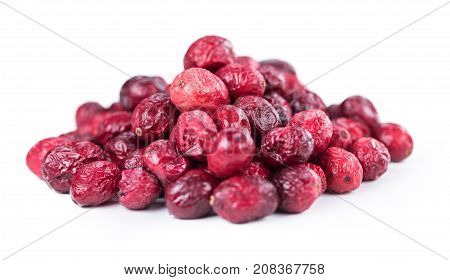 Dried Cranberries Isolated On White Background (selective Focus; Close-up Shot)