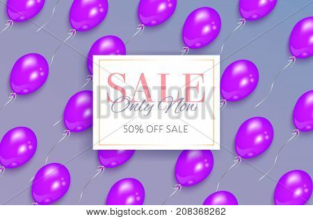 Sale banner design with shiny purple balloons flying diagonally and rectangular frame, vector illustration. Sale banner, flyer, poster template design with square element for text and shiny balloons