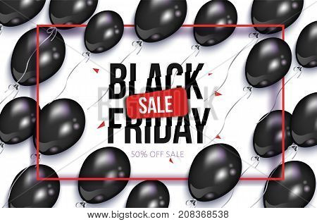 Black Friday rectangular horizontal sale banner, flyer design with balloons and frame, vector illustration on white background. Black Friday sale banner, flyer, poster template