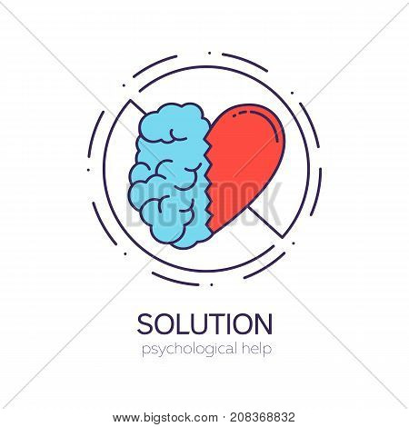 United brain and heart halves. Balance between intelligence and emotions. Solution vector logo