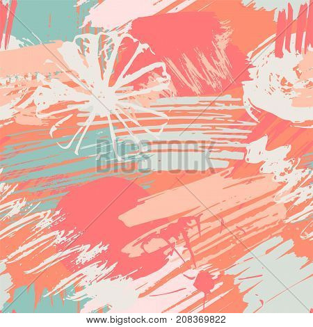 Seamless pattern with abstract watercolor stains, flowers, paint brushes freehand strokes