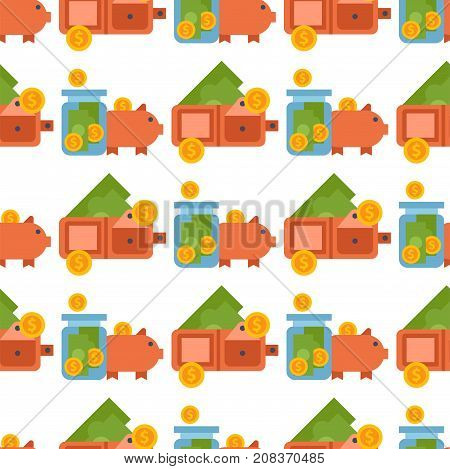 Money finanse banking safety seamless pattern background business currency card financial deposit bank payment vector illustration. Exchange commerce symbols check investment payment design