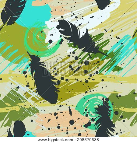 Seamless pattern with black feathers and abstract watercolor stains, paint brushes, freehand strokes