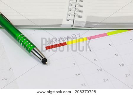 Close Up Of Blank Paper With Calendar For Appointment And Appointment Plan For Business. Calendar Pl