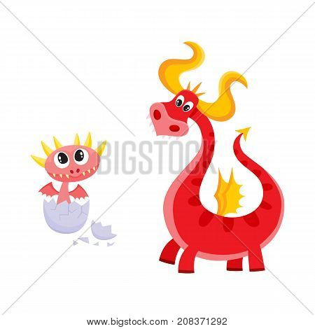 vector flat cartoon funny red adult, mature dragon with horns and wings and small baby cute dragon hatching from egg. Fairy character set. Isolated illustration on a white background.