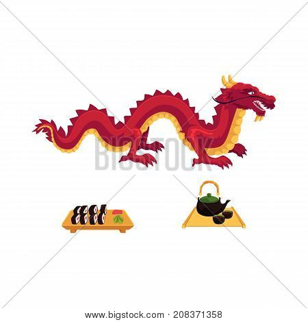 vector flat asian japan, china oriental symbols concept set. Red dragon without wings, sushi with ginger, wasabi and kettle with caps for tea ceremony. Isolated illustration on a white background.