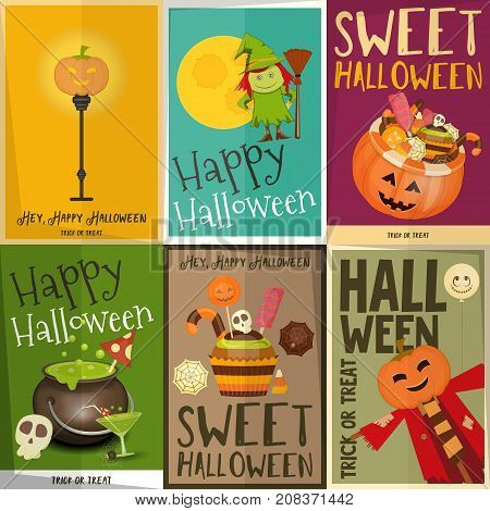 Halloween Posters Set. Sweets Characters and Creatures of October Halloween. Sweet Treats and Jack-o-lantern. Vector Illustration.