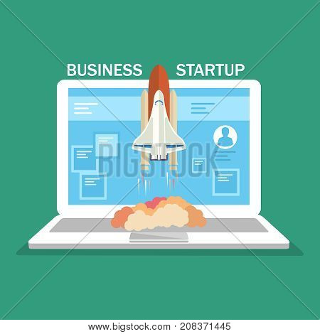 Successful launch of startup. Flat design. Vector illustration