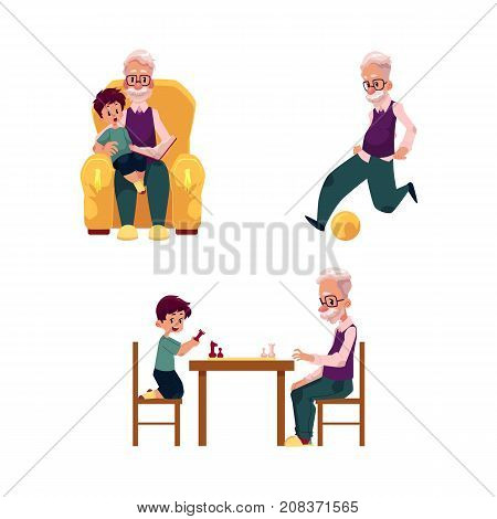 vector flat grandparents , children set. grandson and grandfather playing chess sitting at table and football, boy sits at grandfather s knees at armchair . Isolated illustration on a white background.